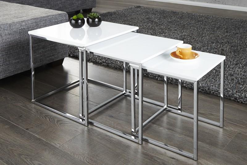 Stoliki kawowe nowoczesne designerskie - Table gigogne blanche ...