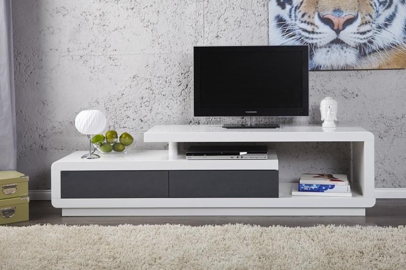 Meuble Tele Bois Moderne : Invicta Interior Komoda Stolik Pod Telewizor Biały Tv Lowboard Spring