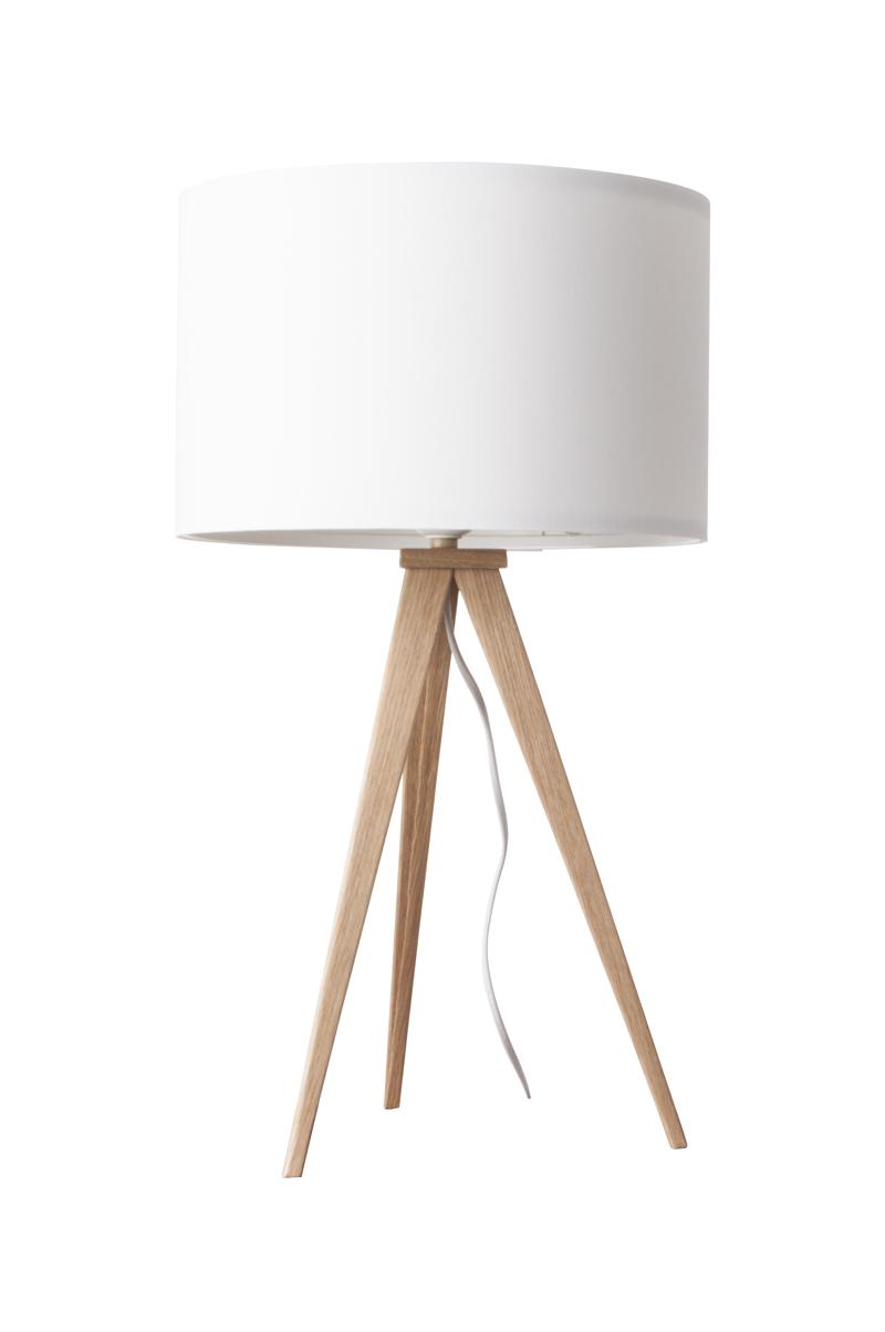 Lampa Stołowa Tripod White Drewniana